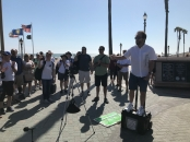 Ray Comfort open-air preaching in Huntington Beach
