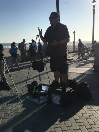 Michael Tolosa open-air preaching in Huntington Beach