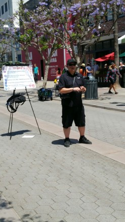 Michael Tolosa open-air preaching at the Promenade in Santa Monica